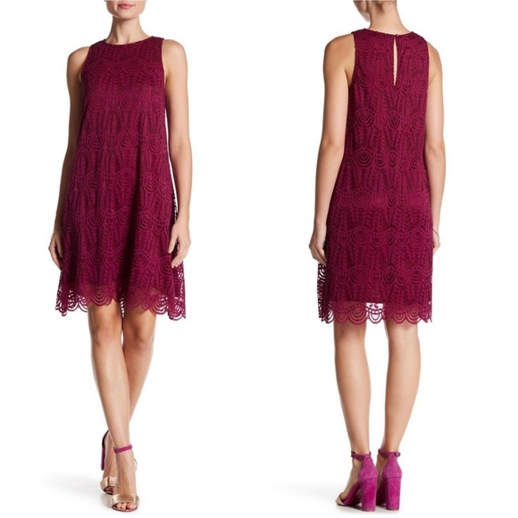 Sharagano Dresses & Skirts - NEW Sharagano Berry Scalloped Hem Lace Dress